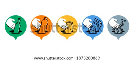 Waste sorting and separation icons set - dumpster marking stickers with hand and garbadge - glass, plastic, metal, paper, organic waste - vector collection Foto stock ©