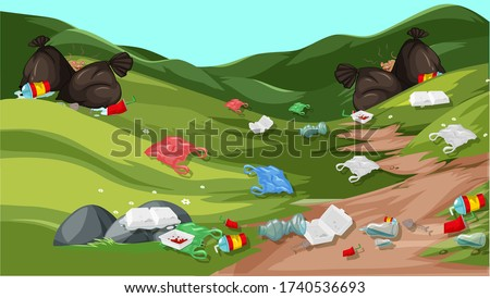 waste vectors strewn on hills or parks Stock photo ©