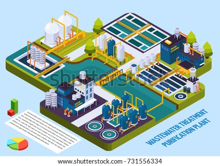 Waste water treatment purification plant with reservoir, separators, filters, pumps, isometric composition with infographic elements vector illustration