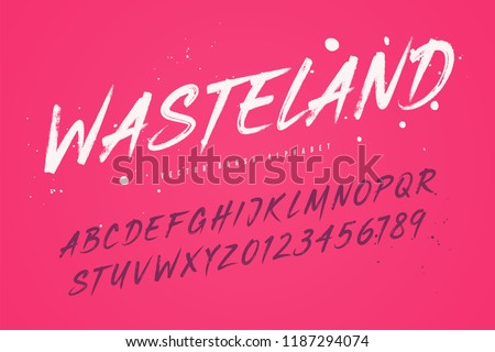 Wasteland vector brush style font, alphabet, typeface, typography. Global swatches.