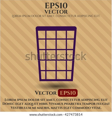 Wastepaper Basket icon or symbol