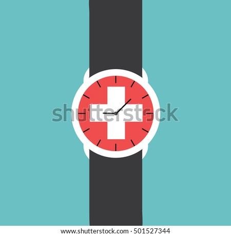 watch clock swiss flag vector