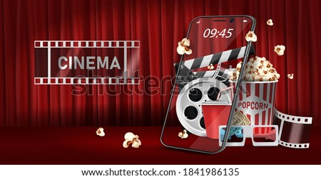 Watch movies online Through a mobile phone. Soft drinks with popcorn and film-strip cinematography concept. Eps10 realistic vector illustration.