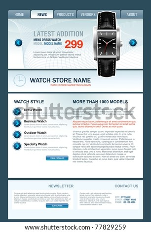 Watch Store Web Template, vector, eps10