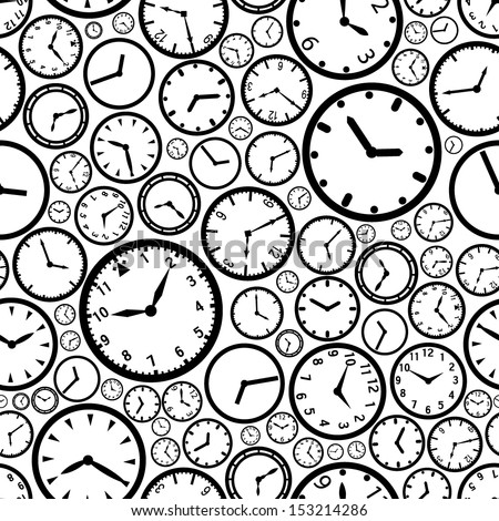 watch time clock dial black and white seamless pattern eps10
