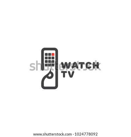 Watch TV logo template design with a tv remote control. Vector illustration.