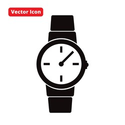 watch vector icon black isolated