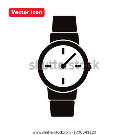 watch vector icon black isolated Foto stock ©