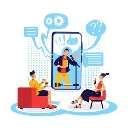 Watch webinar flat concept vector illustration. Talk show broadcast. Popular conversational podcast. Channel audience 2D cartoon characters for web design. Online creator creative idea