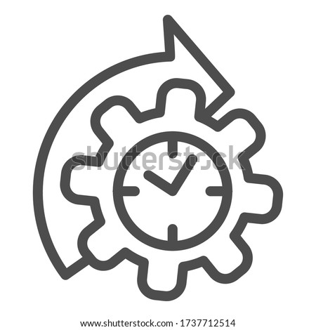 Watches and arrow with gear line icon, time managment concept, cogwheel with clock reprocessing sign on white background, Accelerated process gear icon in outline style. Vector graphics Foto stock ©