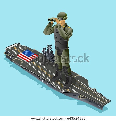 Watching soldier over aircraft carrier of American army US navy. 3D armed Isometric people design vector illustration Stock fotó ©