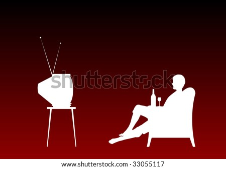 Watching television on the red background.