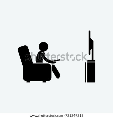 watching tv icon vector
