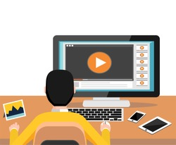 Watching video on computer. Streaming online video. Play button watch media load concept. Video tutorial. Modern flat design for Web Banner , Website Element , Brochures, or Book cover
