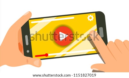 Watching Video On Smartphone Vector. Video Player On Screen. Red Play Symbol Button. Finger Touch Screen. Isolated Flat Illustration