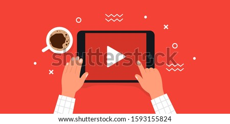 Watching YouTube video. Hands holding tablet. Top view. Vector