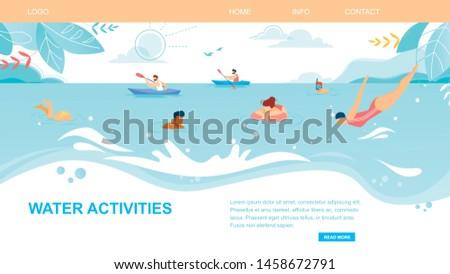 Water Activities Horizontal Banner, People Enjoying Summer Time Leisure on Beach, Swimming, Jumping, Splashing, Snorkeling, Kayaking in Sea. Summertime Vacation, Sport Cartoon Flat Vector Illustration