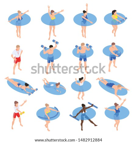 Water aerobic aquatic fitness workout isometric icons set with people training in swimming pool isolated vector illustration