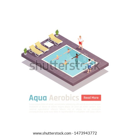 Water aerobics fitness exercise isometric composition with aqua training class in resort outdoor swimming pool vector illustration