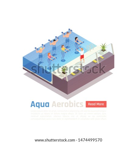 Water aerobics low impact intense workout with weights isometric composition with group aqua training class vector composition