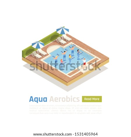 Water aerobics workout with weights isometric composition with aqua training class in outdoor swimming pool vector illustration