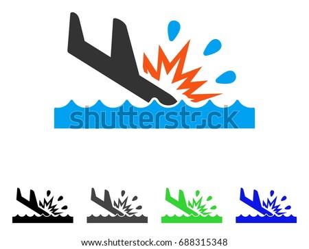 water air crash flat vector