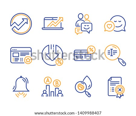 Water analysis, Loan percent and Audit icons simple set. Cashback, Ab testing and Sales diagram signs. Dating, Clock bell and Favorite symbols. Line water analysis icon. Colorful set. Editable stroke