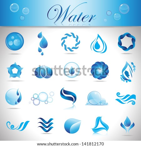 Water And Drop Icons Set - Isolated On Gray Background - Vector Illustration, Graphic Design Editable For Your Design