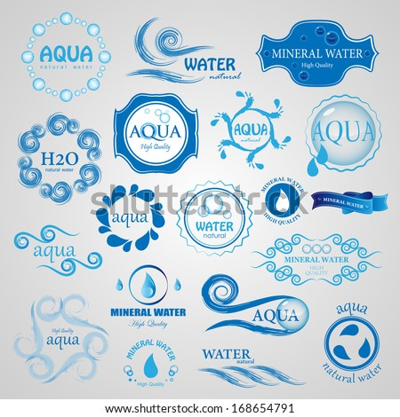 Water And Drop Icons Set Isolated On Gray Background Vector Illustration Graphic Design Editable For Your Design