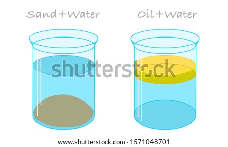 Water and oil sand mixtures in beakers. Mixtures and solutions in flask. Glass containers. Emulsions Oil floats on water, it is less dense or has lower specific gravity. Chemistry experiment. Vector