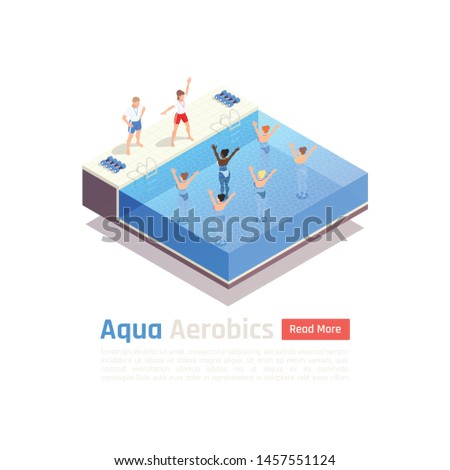 Water aqua aerobics group fitness lesson isometric composition with water immersed participants exercise with instructor vector illustration