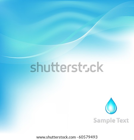 Water Background With Drop, Vector Illustration