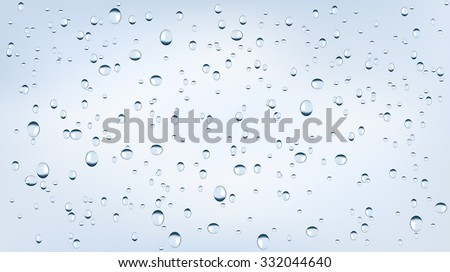 Water backgrounds with water drops. Blue water bubbles. Vector Illustration isolated on white background