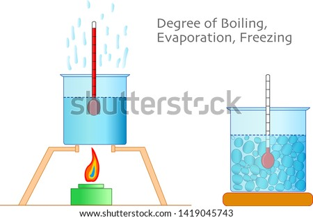 Water boiling, freezing, melting degrees. Liquids degrees. Thermometer, test cups, temperature gauge and cooker. Physics, chemistry examples.  Study, home work. 2d drawing, vector illustration