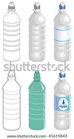 Water bottle in different styles