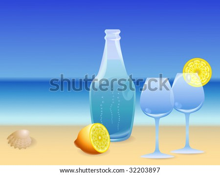 Water bottle on the beach