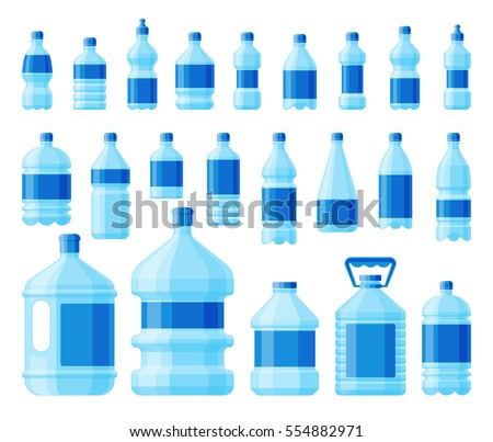 Water bottle pack blue color set vector isolated on white background. Delivery water service different bottle design.