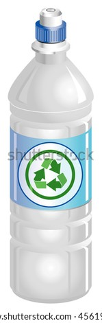 Water bottle with recycle symbol
