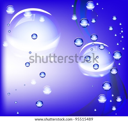 Water, Bubbles, Rain. Background for the company. Vector EPS 10