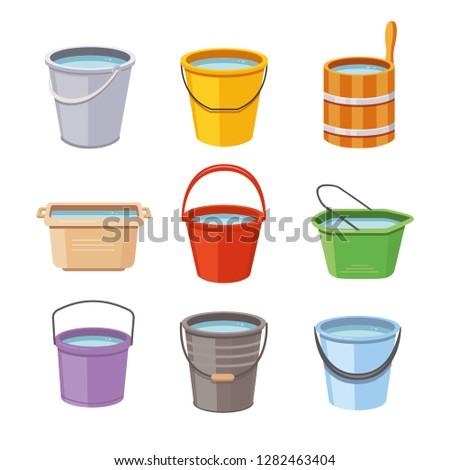 water buckets set metal pail