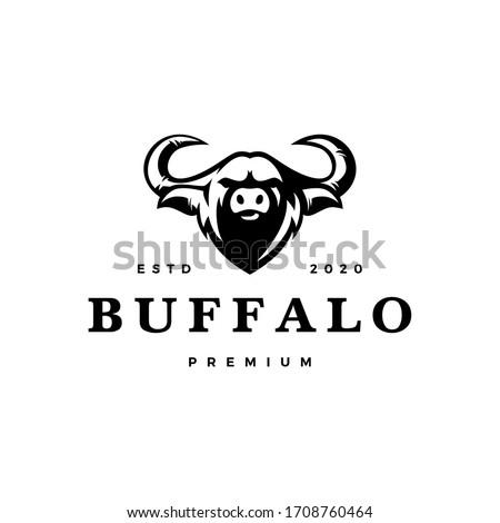 water buffalo head logo vector icon illustration