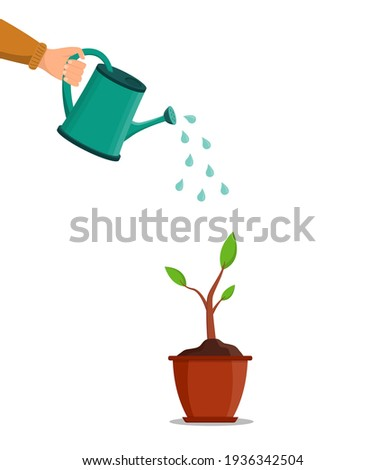 Water can in hand. Water for pour of tree and plant. Growth are seed in garden in spring. Pot with plant or flower. Hand holding can watering for grow of sprout. Flora, tool and sprinkle. Vector.