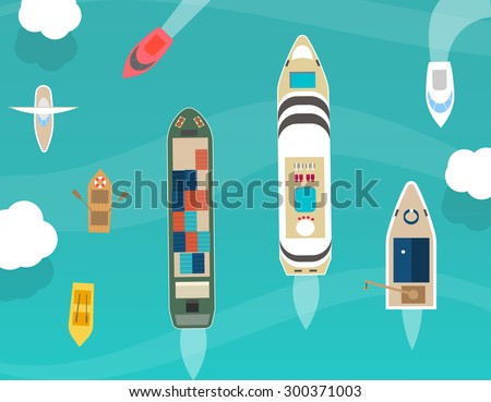 Water carriage and maritime transport icons set, top view, in flat design style. Ship, boat, vessel, cargo ship, motorboat, cruise ship, rowboat, yacht, isolated on blue background