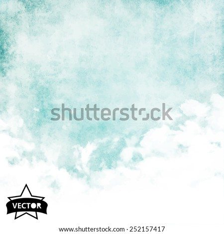 Water color like cloud on old paper texture background. Vector.