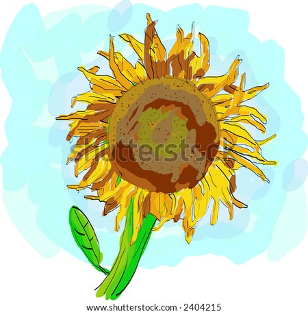 Water color sunflower, scalable, editable colors - vector illustration