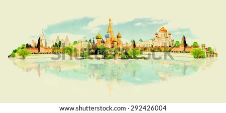 water color vector panoramic
