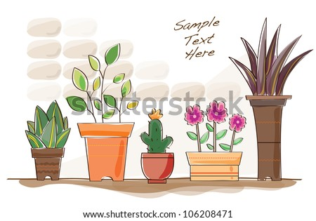 water coloured flower pots