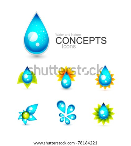 Water concepts. Water drop and nature design elements: leaves and sun
