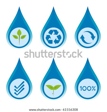Water conservation and recycling concept set 3.