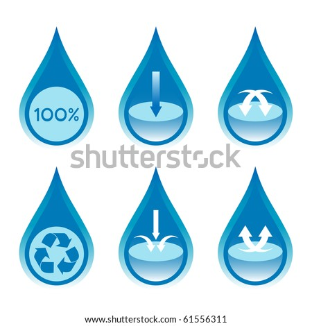 Water conservation and recycling concept set 2.